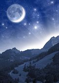 Fantastic alpine landscape. Mountains in the moonlight