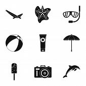 Trip To Sea Icons Set. Simple Illustration Of 9 Trip To Sea Icons For Web poster