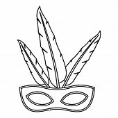 Carnival Mask With Feathers Icon. Outline Illustration Of Carnival Mask With Feathers Icon For Web poster