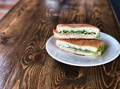 Tuna And Ham Sandwich In The White Dish On The Wooden Table With Natural Light, Ingredient For Make  poster