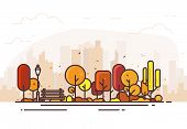 Autumn Park. City Park Bench, Lawn And Trees. Flat Style Line Vector Illustration. On Background Bus poster