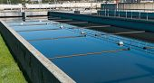 stock photo of sedimentation  - bassin where the wasted water is being filtered - JPG