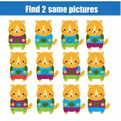 Find The Same Pictures Children Educational Game. Find Two Identical Cats poster