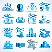 City Buildings Business Financial Office Vector Design Set. Futuristic Architecture Illustrations Co poster