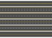 Highway Road Marking. Horizontal Straight Asphalt Roads, Modern Street Roadway Lines Or Empty Highwa poster