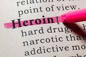 Fake Dictionary, Dictionary Definition Of The Word Heroin. Including Key Descriptive Words. poster