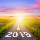 Empty Asphalt Road And New Year 2019 Concept. Driving On An Empty Road To Goals 2019. poster