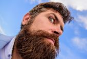 Man Bearded Hipster With Mustache Sky Background. Check Out My Long Beard. Ultimate Moustache Groomi poster