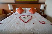 picture of pillowcase  - Honeymoon suite in fancy 5 stars hotel.