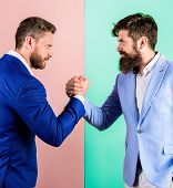 Business Partners Competitors Office Colleagues Tense Faces Ready To Compete In Arm Wrestling. Hosti poster