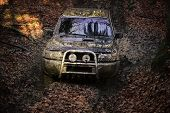 Suv Covered With Mud Stuck In Deep Trail With Dirt On Path Covered With Leaves. Dirty Offroad Car Wi poster