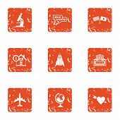 Scientific Mission Icons Set. Grunge Set Of 9 Scientific Mission Icons For Web Isolated On White Bac poster