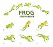 Frog Jumping Animation. Various Keyframes For Green Animal. Vector Frog Animation, Jump Amphibian An poster