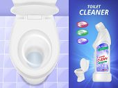 Toilet Cleaner Advertising. Fresh Clean Concept Poster Liquid Detergent Toilet Sink And Bathroom. Ve poster