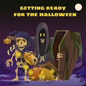 Poster In Style Of Holiday All Evil Halloween. Scarecrow In The Form Of Ghosts In The Hoodie At Midn poster