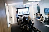 Picture Of Business Meeting In Conference Room poster