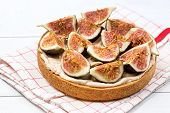 French Tart With Fruits Curd And Merengue Decorated With Tasty Figs On White Wooden Background Pastr poster