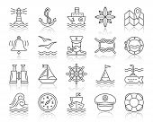 Marine Thin Line Icons Set. Outline Web Sign Kit Of Nautical. Sea Knot Linear Icon Collection Boat,  poster