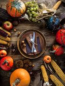 Thanksgiving Dinner. Autumn Fruit With Plate And Cutlery. Thanksgiving Autumn Background poster