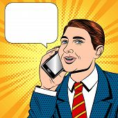 Vector Color Pop Art Comic Style Illustration Of A Young Man Talking On A Cell Phone. Businessman Wi poster