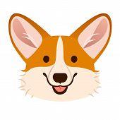 Corgi Dog Cute Cartoon Vector Portrait.  Pembroke Welsh Corgi Puppy Dog Face, Smiling With Tongue Ou poster