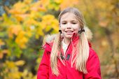 Kid Girl Walk Autumn Day. Child Blonde Long Hair Walking In Warm Jacket Outdoor. Girl Happy In Red C poster