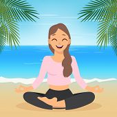 Girl Doing Yoga Meditation Isolated On White Background. Young Woman Making Meditation In Lotus Pose poster