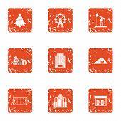 Borough Icons Set. Grunge Set Of 9 Borough Icons For Web Isolated On White Background poster