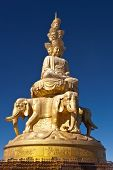stock photo of emei  - The statue of samantabhadra on the top of Mount Emei The highest elevation of the buddha - JPG