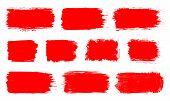 Red Paint Spot Set. Vector Red Paint, Ink Vector Brush Splash, Brush, Stroke, Spot, Frame Or Texture poster