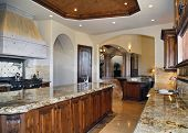 foto of over counter  - large kitchen with granite counter tops and cabinets of wood with hood over stove facing the living room - JPG