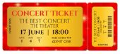 Ticket Template, Concert Ticket With Stars (tear-off Ticket Mockup) On Red Starry Glitter Background poster