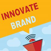 Text Sign Showing Innovate Brand. Conceptual Photo Significant To Innovate Products, Services And Mo poster