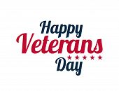 Calligraphic Text For Veterans Day, Usa Celebration. Vector Design Happy Veterans Day poster