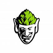 Mascot Icon Illustration Of Head Of An Elf, Human-shaped Supernatural Being, Wearing A Hops Hat View poster