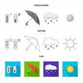 Vector Illustration Of Weather And Weather Symbol. Collection Of Weather And Application Stock Symbo poster