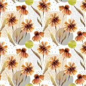 Abstract Floral And Geometric Seamless Pattern. Watercolor Flowers, Leaves, Geometric Shapes, Minima poster