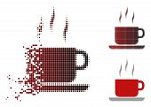 Coffee Break Icon In Dispersed, Pixelated Halftone And Undamaged Whole Variants. Particles Are Arran poster