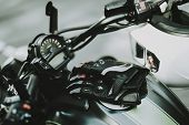 Black Speed Motorcycle Concept. Front Camera View. Ready To Ride. Power Engine. Leather Seat. Motorb poster