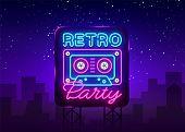 Retro Party Neon Poster, Card Or Invitation, Design Template. Retro Tape Recorder Cassettes Neon Sig poster