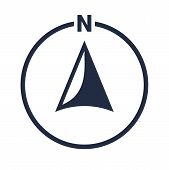 North Arrow Icon Or N Direction And Navigation Point Symbol. Vector Logo In Circle For Gps Navigator poster