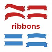 Cartoon Banners And Comic Ribbons. Colored Banner Ribbon. Banner Ribbon Vector Set poster