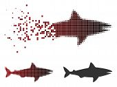 Shark Icon In Sparkle, Pixelated Halftone And Undamaged Solid Variants. Cells Are Organized Into Vec poster