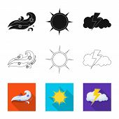 Isolated Object Of Weather And Weather Logo. Set Of Weather And Application Stock Vector Illustratio poster