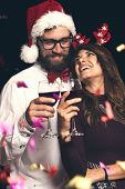 Couple Making A Toast At New Years Party poster