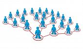 stock photo of human pyramid  - multilevel marketing network concept with human figures - JPG