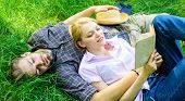 Couple Soulmates At Romantic Date. Romantic Couple Students Enjoy Leisure With Poetry Or Literature  poster
