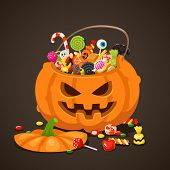 Halloween Candies In Pumpkin Bag. Sweet Lollipop Candy For Kids. Trick Or Treat, Isolated Children S poster