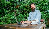 Create Content For Web Blog. Man Bearded Manager Entrepreneur Sit Terrace Outdoors With Laptop And C poster