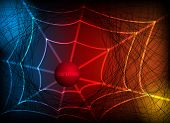 stock photo of spider web  - Abstract colorful background with spider web - JPG